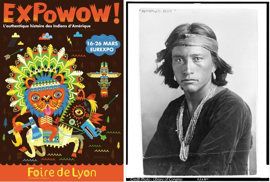 Affiche Expowow Foire de Lyon 2012 et Indien Navajo