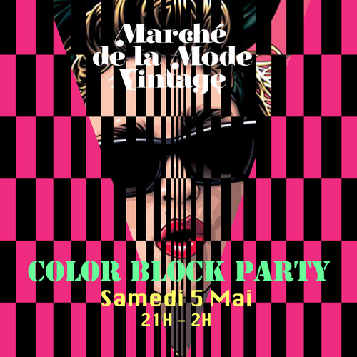 Colorblock Party Marché Mode Vintage 2012 Affiche