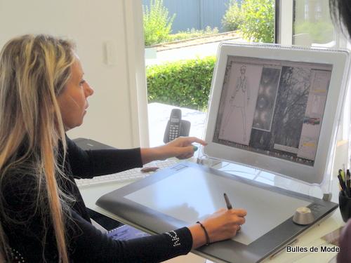Nathalie Chaize crée ses imprimés sur ordinateur