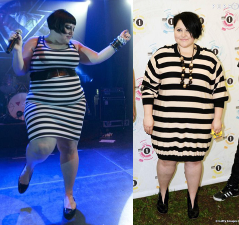 Beth Ditto en robe à rayures horizontales