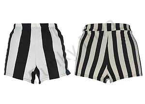 Shorts à rayures verticales noir et blanc influence silhouette tendances mode