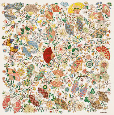 Carré de Soie Hermès Musée des Tissus de Lyon Fleurs et Papillons de Tissus