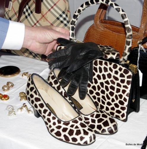 Ensemble accessoires vintage - sac gants escarpins poulain imprimé