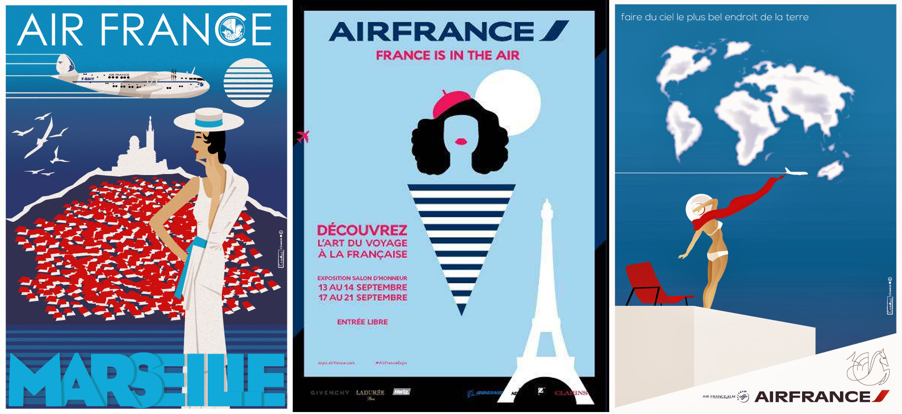 Air France 80 ans flat design retro