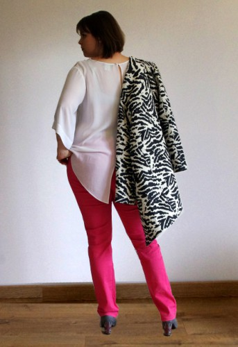 Balsamik manteau 3-4 tissé zèbre blog mode look city back