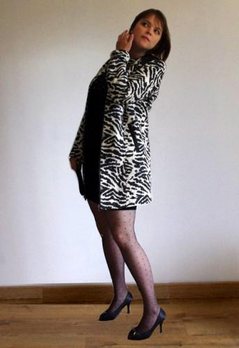 Balsamik manteau 3-4 tissé zèbre chic