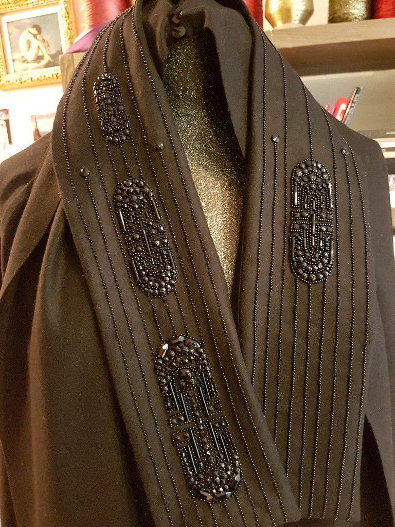 Perles de Jais Broderie Haute-Couture Art Déco