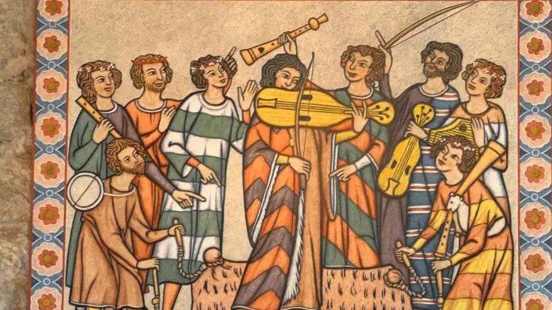 Costume médiéval musiciens chevrons rayures